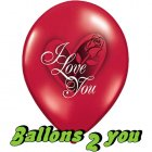 I Love You Red Rose Luftballons VE 5 Stk - 30cm