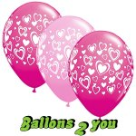 25 Double Hearts Pink & Rose Luftballons - 30cm