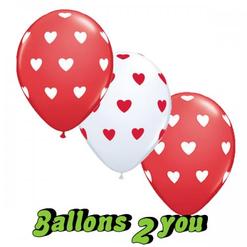 Big Hearts Latex Luftballons VE 5 Stk - 30cm