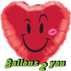 Smiley Kiss Folienballon - 45cm