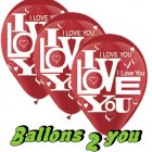 rote I LOVE YOU Latex Luftballons - 30cm
