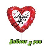 I Love you Herz Mini Folienballon - 22,5cm