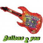 Happy Birthday Gitarre Folienballon - 114cm