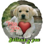 Miss You Puppy Folienballon - 45cm