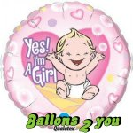 Yes! I'm A Girl Folienballon - 45cm