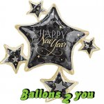 Happy New Year Sterne Folienballon - 83cm