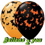 Flying Bats and Moons Latex Luftballons - 30cm