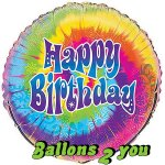 Happy Birthday Rainbow Folienballon - 45cm