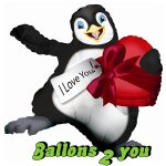 Pinguin I love you Folienballon - 85cm