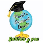 Greatest Grad Globus Folienballon - 88cm
