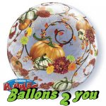 Qualatex Autumn Floral & Pumpkins Bubble  - 56cm