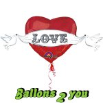 Love Doves Folienballon - 104cm