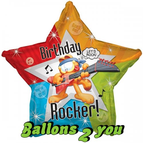Birthday Rocker Garfield Folienballon - 45cm