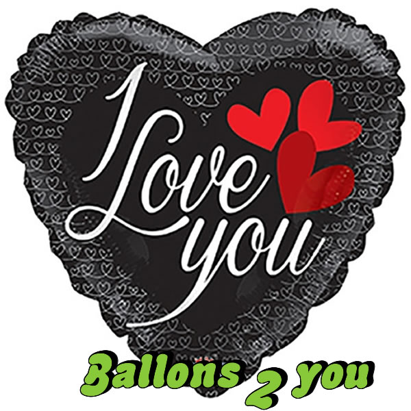 Folienballon Black Hearts
