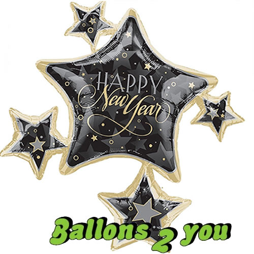 Folienballon Happy New Year Golden Stars