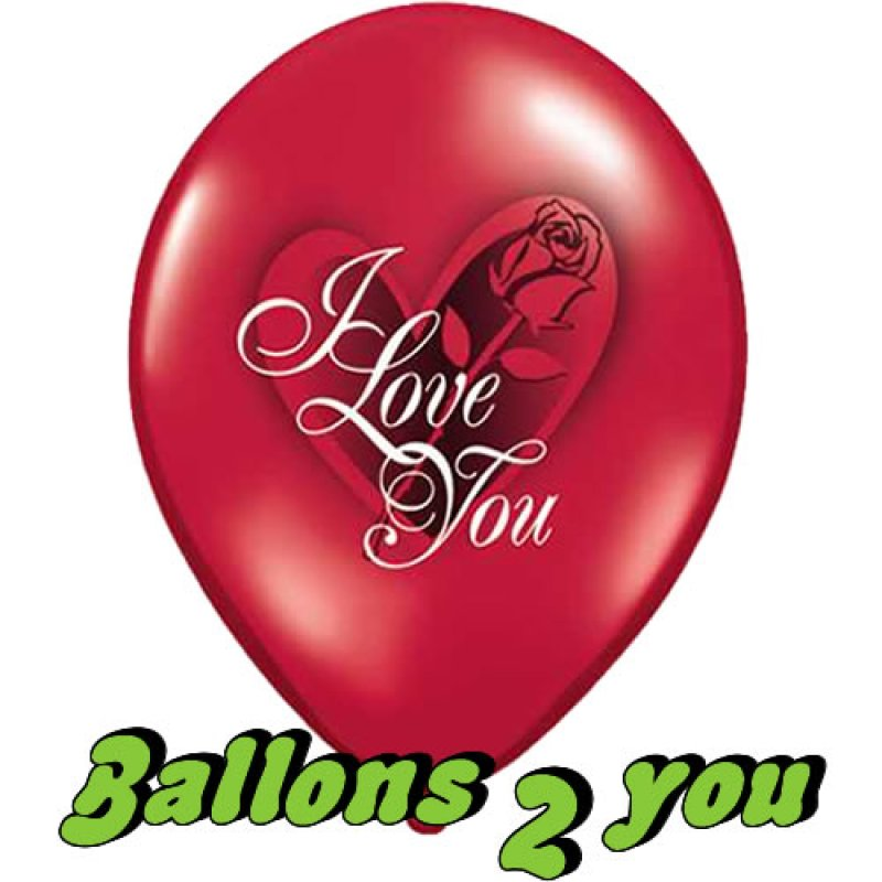 Luftballons I Love You Red Rose