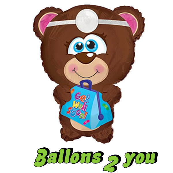 Folienballon Teddy get well